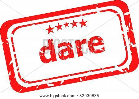 Dare Word On Red Rubber Old Business Stamp