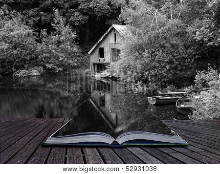 Creative Concept Pages Of Book Black And White Retro Style Picture Of Derelict Boathouse And Rowing