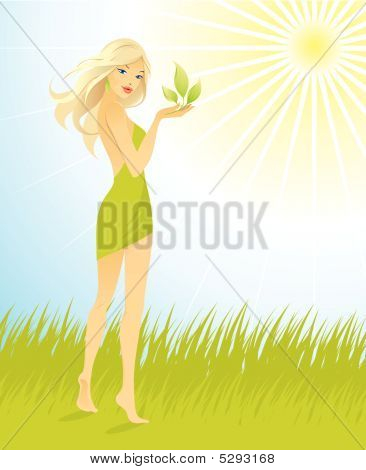 Vector Illustration Of Pretty Young Beautiful Girl