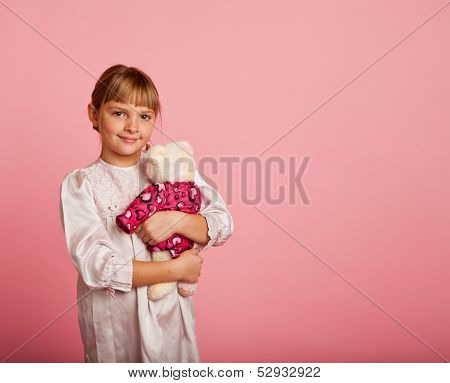 Little Girl With A Teddy Bear