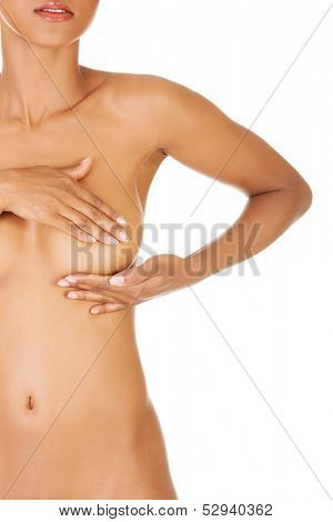 Breasts self-examination. Anti-cancer concept. Isoalted on white.