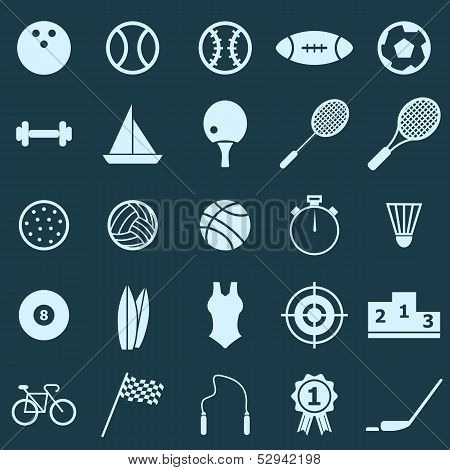 Sport Color Icons On Blue Background