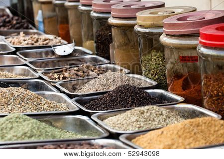 Indian Colored Spices At Local Market In, India