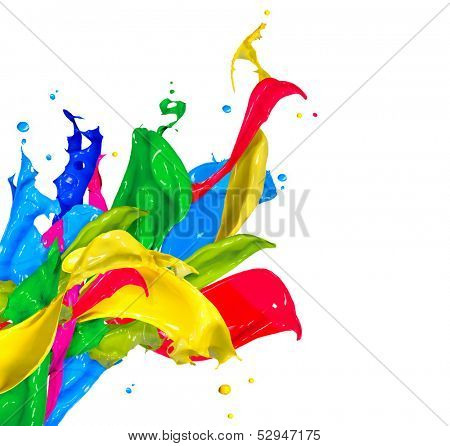 Colorful Paint Splash Isolated on White Background. Abstract Colored Splashing. Multicolor Paint Splatter
