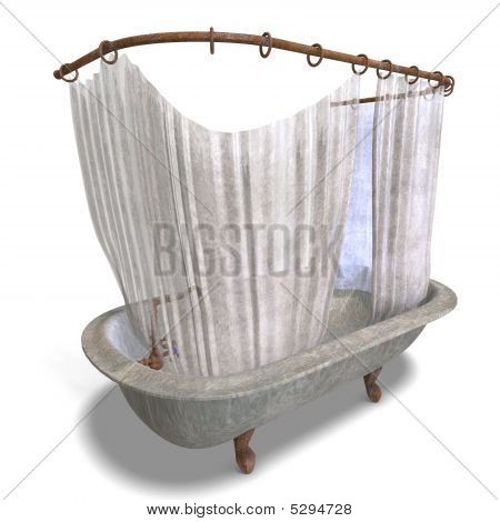 Dirty Bathtube With Shower Curtain