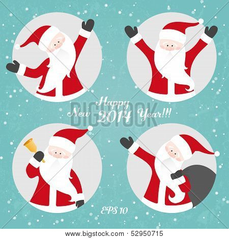 Vector Christmas set with Santa