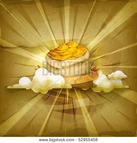 Bag of money, old style vector background