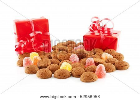 Typical Dutch Sweets: Pepernoten (ginger Nuts) And Red Presents