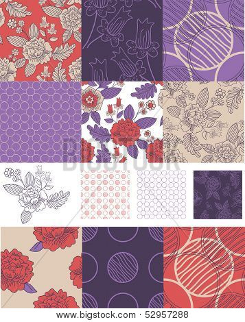 Contemporary Floral Vector Seamless Patterns.  Use to create patchwork pieces for quilts or digital paper for craft projects.