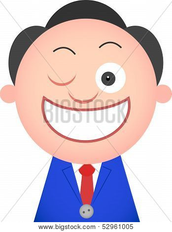Funny Businessman Winking