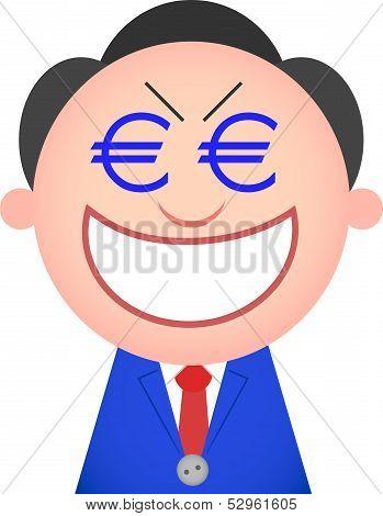 Funny Businessman Greedy