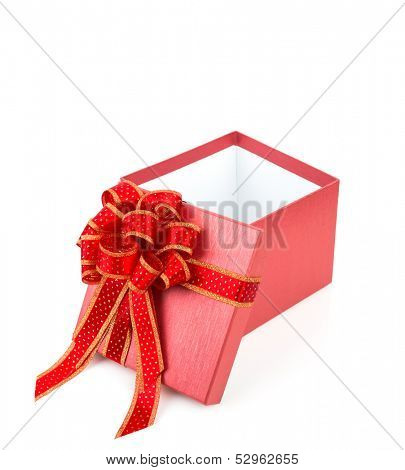 Red gift box with red and glod  ribbon on white background