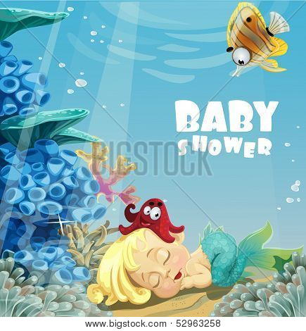 Baby shower with sleeping baby mermaid
