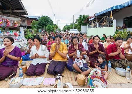 Chaiyaphum,thailand May 15 : Unidentified The Buddhists Pray To Monks In The Buddhist  Sabbath Day O