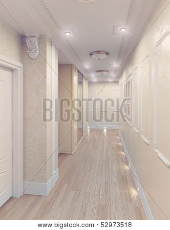 modern interior of home corridor. 3D rendering