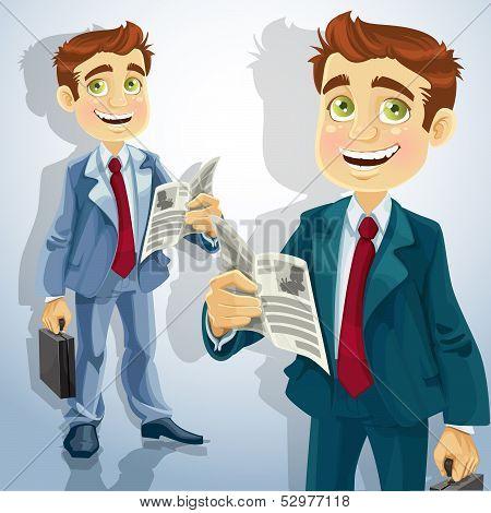 Cute businessman read a summary of the news