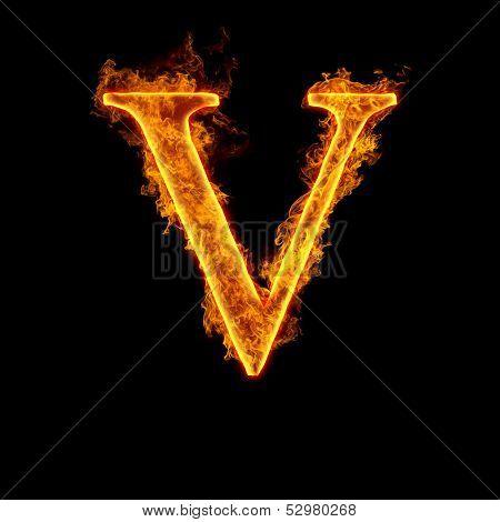 Fire alphabet letter V isolated on black background.