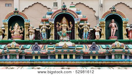 Hindu Gods On A Temple Facade