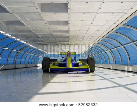 Racing cars  in a glass tunnel.
