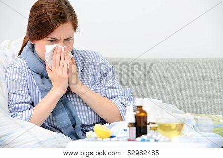 Sick Woman  Lying In Bed