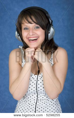 Happy Girl In Ear-phones
