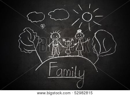Child's Drawing With Chalk On  School Blackboard Happy Family