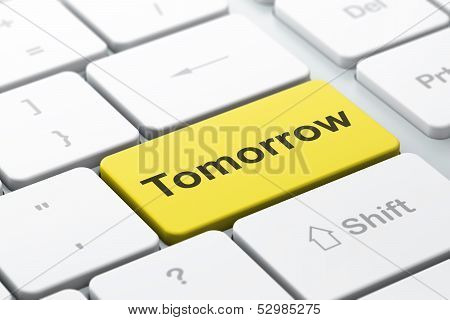 Time concept: Tomorrow on computer keyboard background