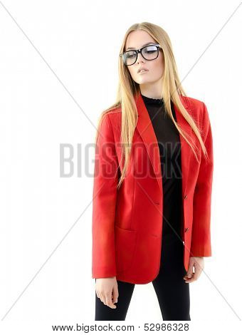 Portrait of attractive cheerful fashion girl with glasses
