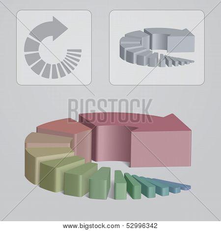 Circular Steps Arrow, Color Infographic Illustration