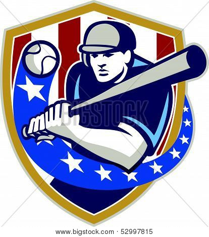 Baseball Hitter Batting Stars Stripes Retro