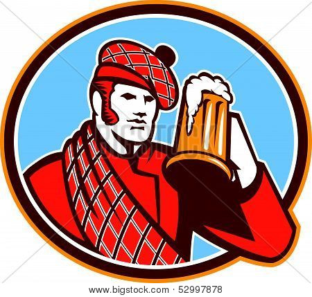 Scotsman Beer Drinker Mug Retro