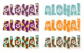 Vector illustration of aloha word in different colors Vector illustration of aloha word in different