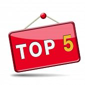 stock photo of 5s  - top 5 charts list pop poll result and award winners chart ranking music hits best top five quality rating prize winner icon  - JPG