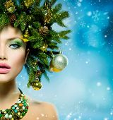 stock photo of snow border  - Christmas Winter Woman - JPG