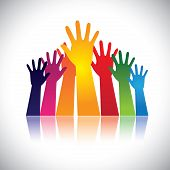 stock photo of trust  - Colorful abstract hand vectors raised together showing unity - JPG