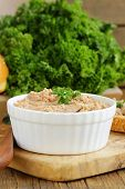 picture of liver  - homemade meat snack chicken liver pate with parsley - JPG