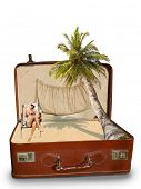stock photo of bimbo  - Blonde woman on the beach Package beach vacation retro suitcase - JPG