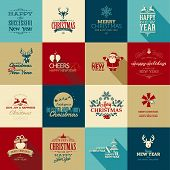 stock photo of rudolph  - Set of vintage elements for Christmas and New Year greeting cards - JPG