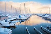 picture of marina  - Winter view of a marina in Trondheim - JPG