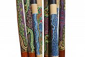 stock photo of didgeridoo  - Group of Australian instruments Didgeridoo on white background - JPG