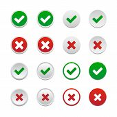 stock photo of reject  - Set of validation buttons isolated on white background - JPG