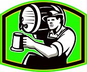 Barman Bartender Pour Beer Barrel Retro