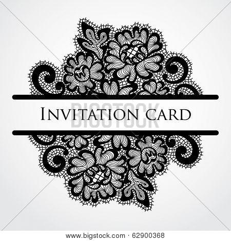 Vector lace card. Vintage black ornament.