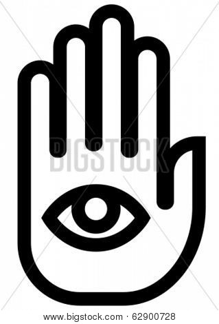 Stop spying hand outline vector icon