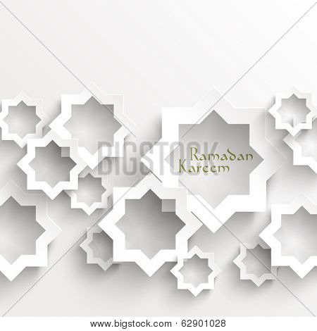 Vector 3D Muslim Paper Graphics. Translation: Ramadan Kareem - May Generosity Bless You During The Holy Month.