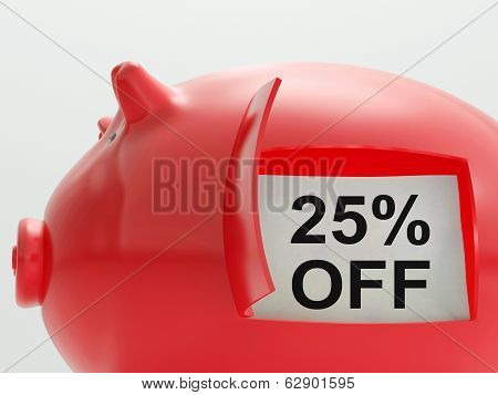Twenty-five Percent Off Piggy Bank Shows Price Slashed 25