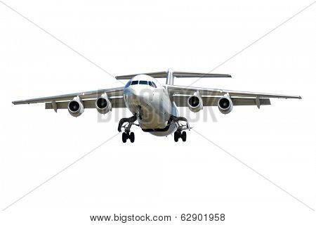 A privat jet plane isolated on a clean white background