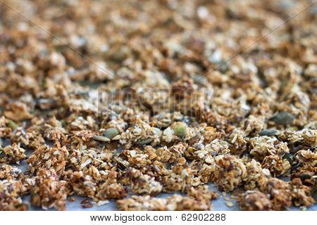 Full-frame Of Home Baked Granola
