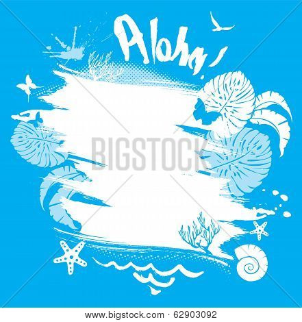 Frame In Grunge Style For Travel And Vacation Design. Palm Tree Leaves, Butterflies, Marine Life And