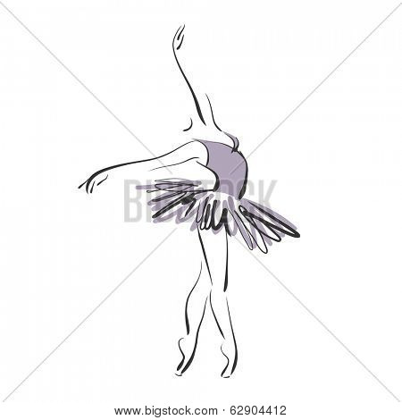 art sketched beautiful young ballerina with tutu in ballet pose on studio.Vector version is also in